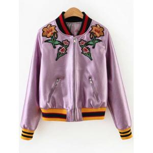 Floral Embroidered Faux Leather Bomber Jacket - Pink - M