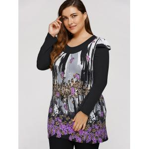 Plus Size Dress With Flowers Waterfall Print -