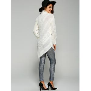 Pullover Turtleneck Asymmetrical Sweater - WHITE ONE SIZE
