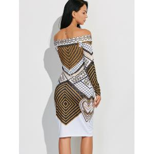 Off Shoulder Geometric Bodycon Dress with Long Sleeves - WHITE XL