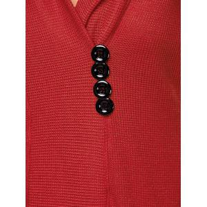 Tunic Hooded Knitwear with Button - RED ONE SIZE