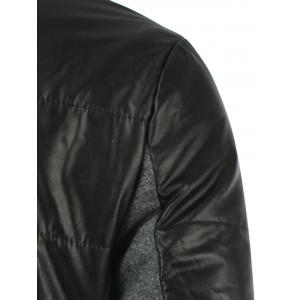 Stand Collar Zippered Faux Leather Insert Jacket - BLACK 2XL