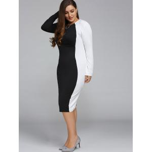 Plus Size Color Block Long Sleeve Sheath Modest Work Dress - BLACK 4XL