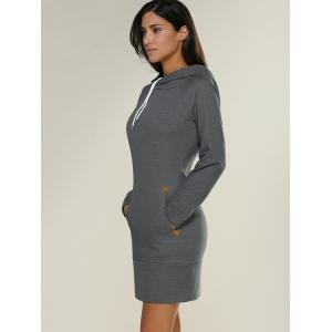 Tight Short Long Sleeve Long Hoodie Mini Dress -