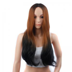 Long Middle Part Slightly Curled Ombre Color Synthetic Wig -