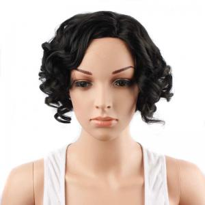 Fascinating Short Side Parting Curly Synthetic Wig - BLACK