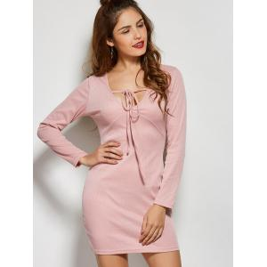 Front Tie Long Sleeve Bodycon Casual Dress - PINK XL