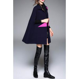 Color Block Knitted Cape Coat -
