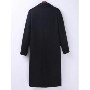 Lapel Flap Pockets Maxi Wool Blend Coat - BLACK M