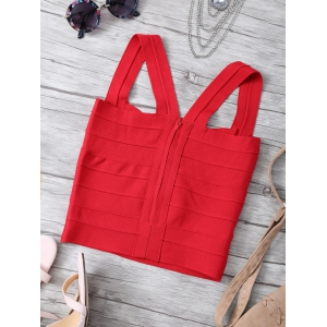 Straps Back Zipper Crop Tank Top - RED ONE SIZE
