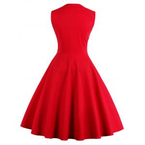 Polka Dot Retro Corset A Line Dress - RED 4XL