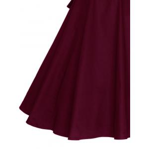 Vintage Wrapped Formal Evening Midi Skater Dress - WINE RED 4XL