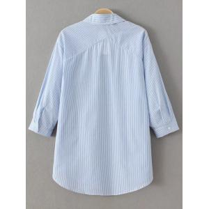 Striped Lace Up Long Sleeve Blouse - BLUE AND WHITE L