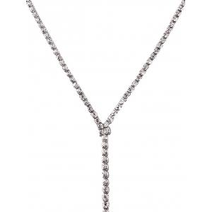 Long Wide Rhinestone Choker Necklace -