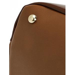 Retro Metal and PU Leather Design Shoulder Bag For Women - BROWN