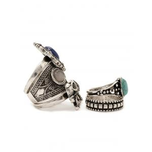 Retro Faux Turquoise Elephant Carved Ring Set -