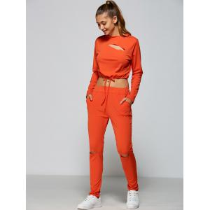 Cropped Sweatshirt and High Waisted Ripped Pants - ORANGE RED XL