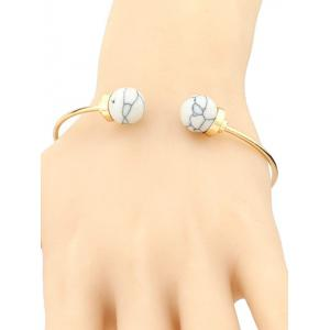 Artificial Turquoise Beads Bohemian Cuff Bracelet - WHITE
