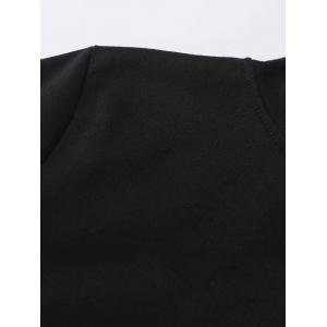 Striped Alien Embroidered Hoodie - BLACK L
