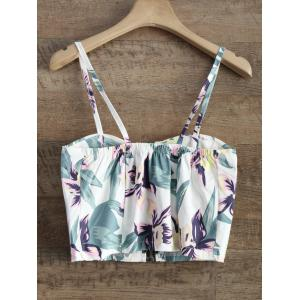 Floral Zipper Padded Cami Cropped Tank Top -