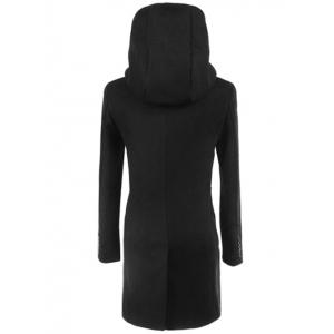 Longline Double Breasted Hooded Woolen Coat -