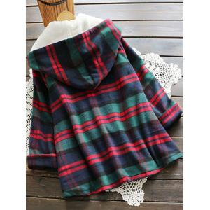 Plaid Hooded Swing Coat - COLORMIX ONE SIZE