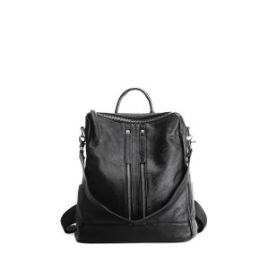Textured Leather Multi Zips Backpack