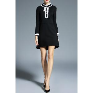 Stand Collar Flounce Mini Dress -