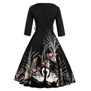 Vintage Printed Fit and Flare Waisted Dress - BLACK M