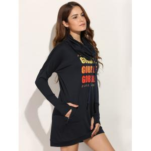 Casual Long Sleeve Letter Print Sweatshirt Dress - BLACK XL