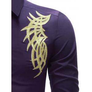 Embroidered Turn-down Collar Button Up Shirt - PURPLE XL