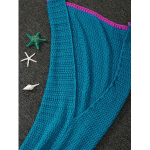 Soft Color Splicing Knitted Mermaid Tail Blanket - DEEP BLUE