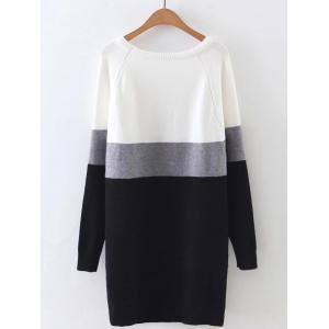Long Sleeve Color Block Mini Sweater Dress - GRAY ONE SIZE