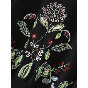 Crew Neck Flower Embroidered Pullover Knit Sweater -