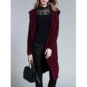 Plus Size Knitted Hooded Duster Cardigan -