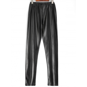 Plus Size Faux Leather Pencil Pants - BLACK 4XL