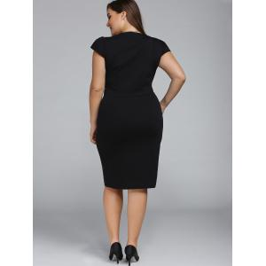 Plus Size Cap Sleeve Sheath Party Dress - BLACK 2XL