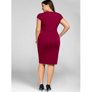 Plus Size Cap Sleeve Sheath Party Dress - WINE RED XL