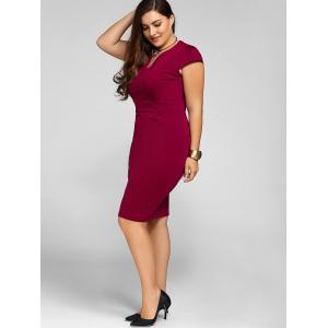 Plus Size Cap Sleeve Sheath Work Christmas Party Dress -