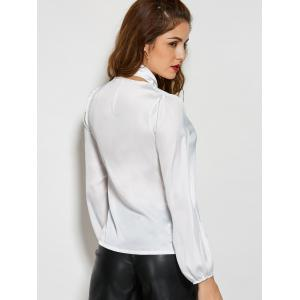 Long Sleeve Single-Breasted Blouse with Scarf -