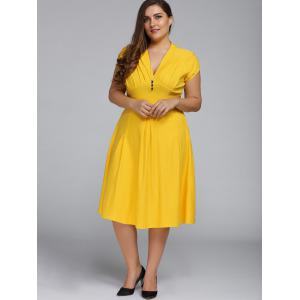 V Neck Plus Size A Line Party Dress - YELLOW 2XL