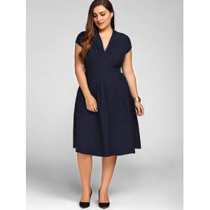 V Neck Plus Size A Line Party Dress - PURPLISH BLUE 2XL