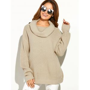 Drop Shoulder Ribbed Cowl Neck Sweater - APRICOT ONE SIZE
