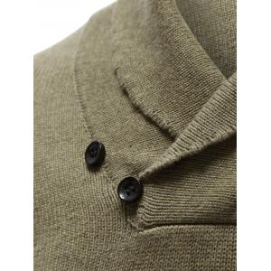 Shawl Collar Button Embellished Pullover Sweater -
