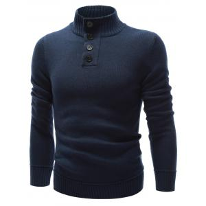 High Neck Button Embellished Pullover Sweater - PURPLISH BLUE XL