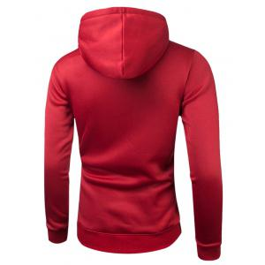 Long Sleeve Drawstring 3D Printed Hoodie - RED 2XL