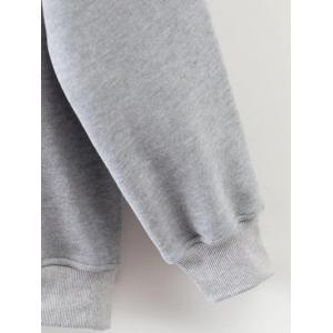 Drawstring Drop Shoulder Pullover Flocking Hoodie -