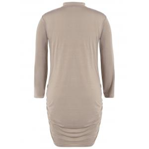 Plus Size Long Sleeve Knit Ruched Dress - KHAKI 6XL