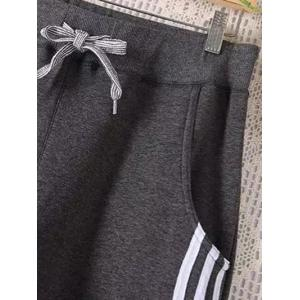 Casual Plus Size Drawstring Striped Sweatpants -