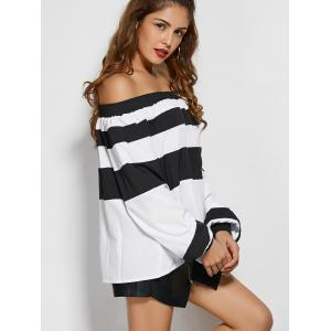 Wide Stripe Off The Shoulder Top - WHITE AND BLACK XS
